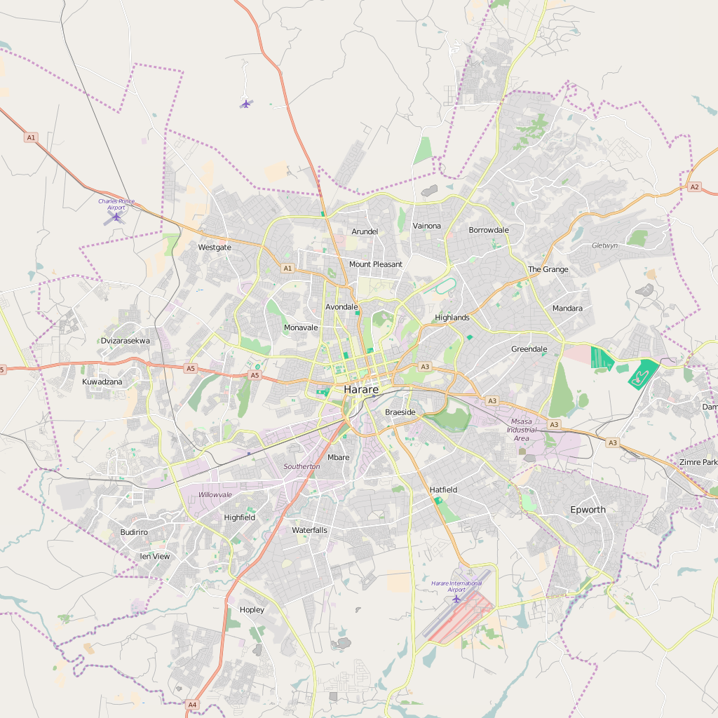 Editable City Map of Harare