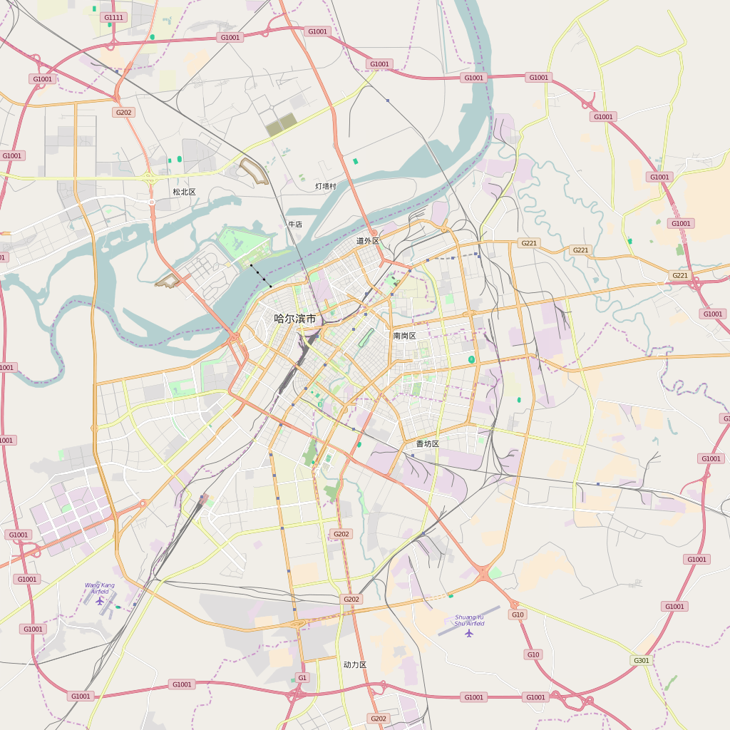 Editable City Map of Harbin