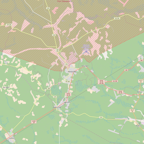 Editable City Map of Hinesville, GA