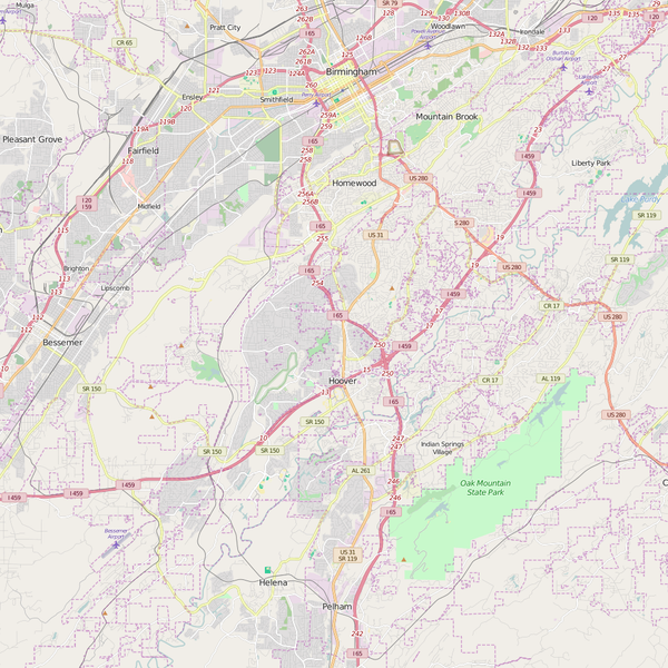Editable City Map of Hoover, AL