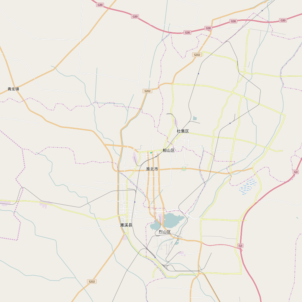 Editable City Map of Huaibei