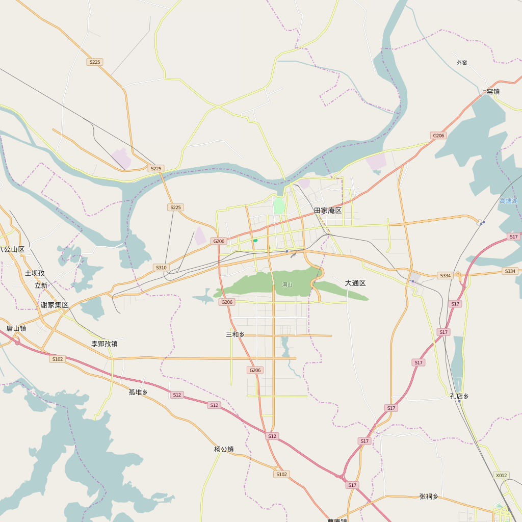 Editable City Map of Huainan