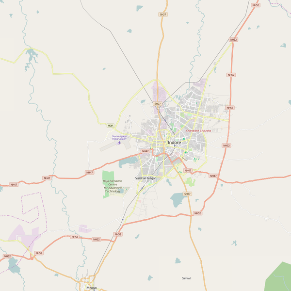 Editable City Map of Indore
