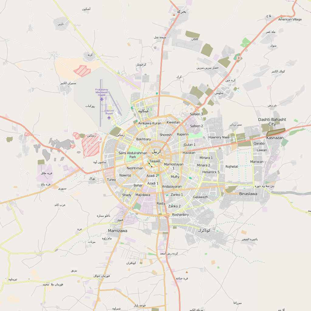 Editable City Map of Irbil