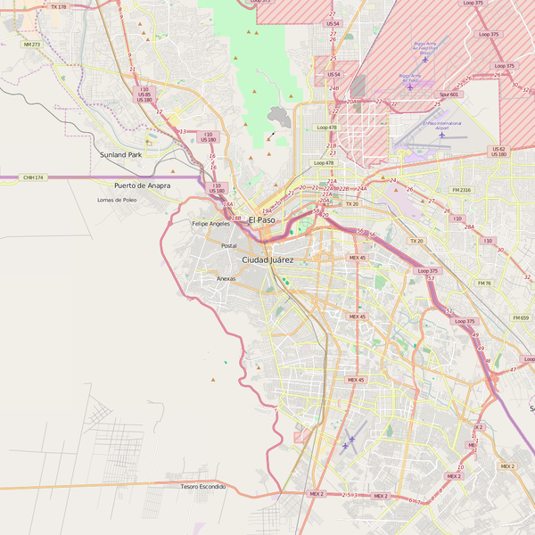 Editable City Map of Juarez