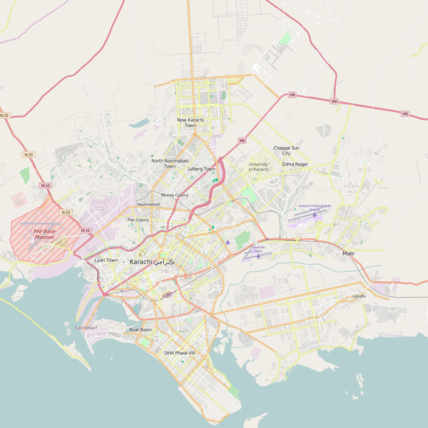 Editable City Map of Karachi