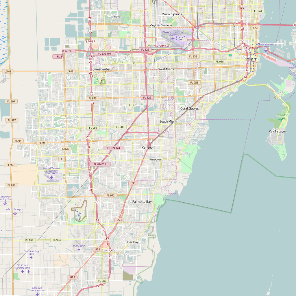 Editable City Map of Kendall, FL