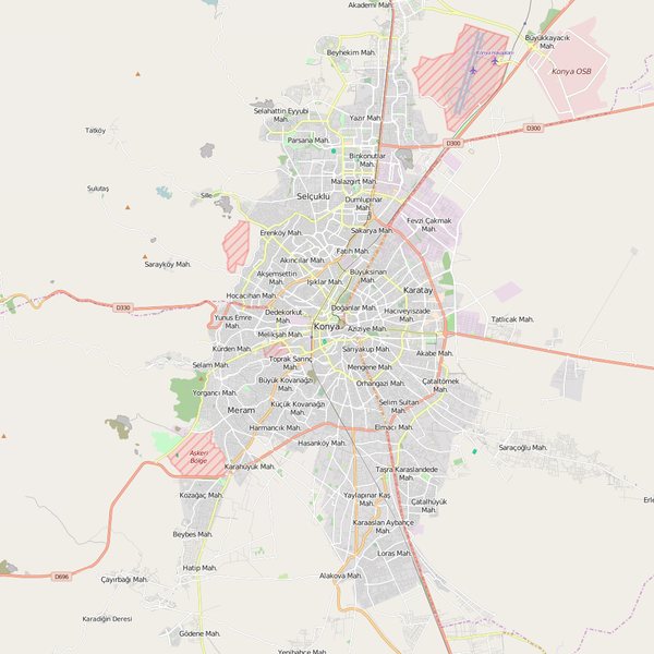 Editable City Map of Konya
