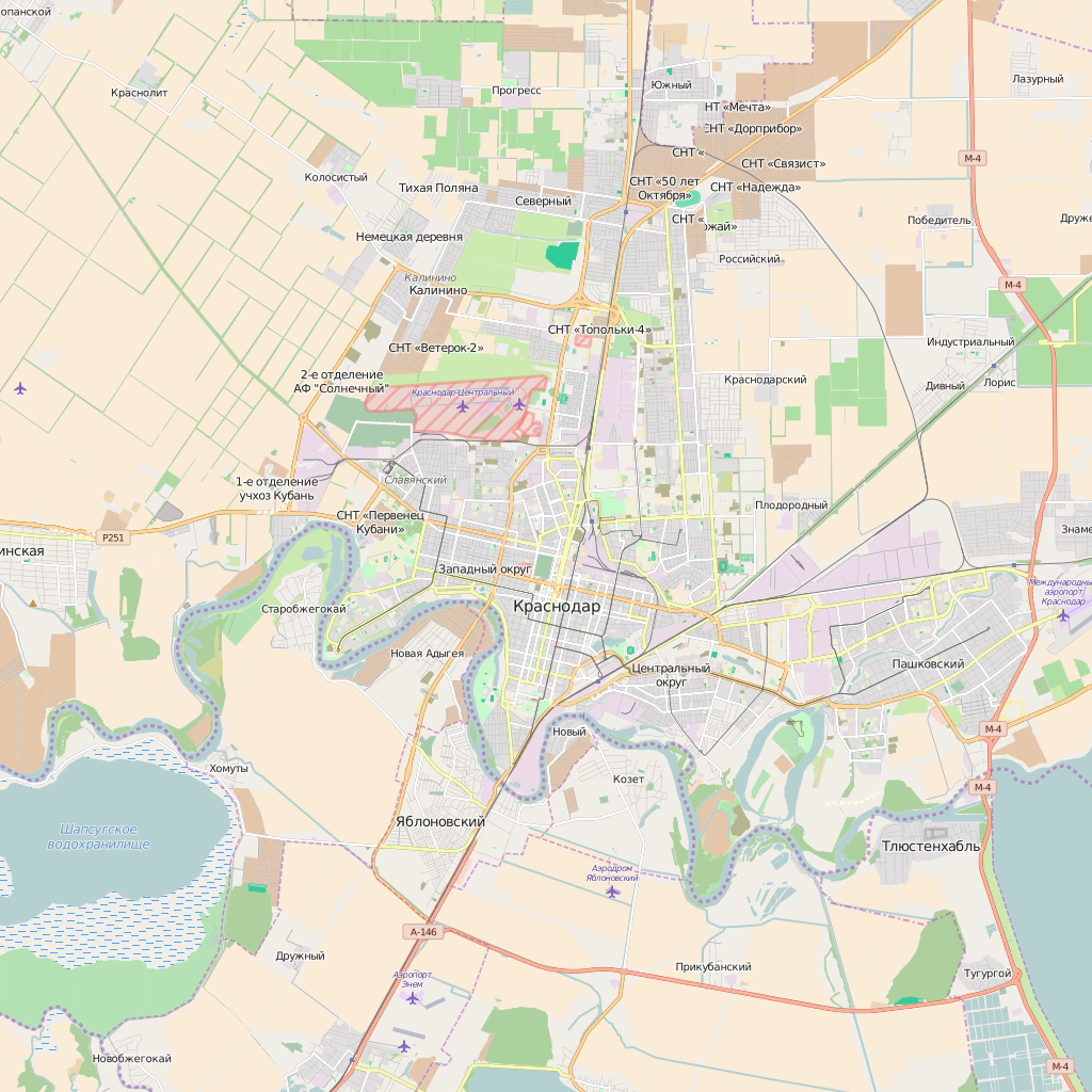 Editable City Map of Krasnodar