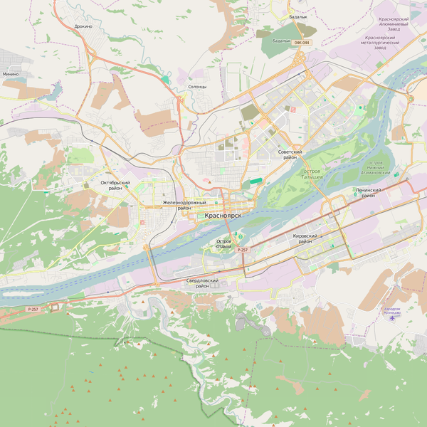 Editable City Map of Krasnoyarsk