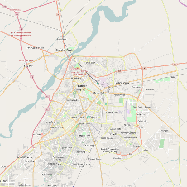 Editable City Map of Lahore
