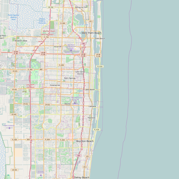 Editable City Map of Lake Worth, FL