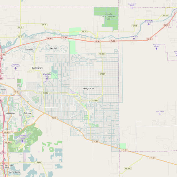 Editable City Map of Lehigh Acres, FL