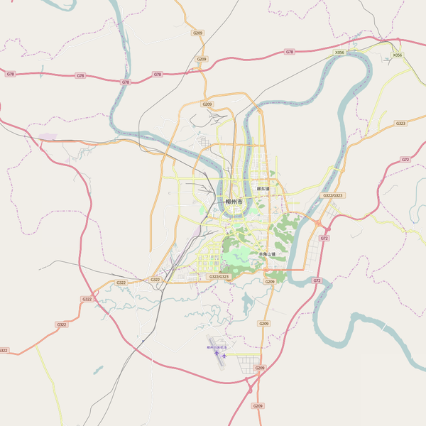 Editable City Map of Liuzhou