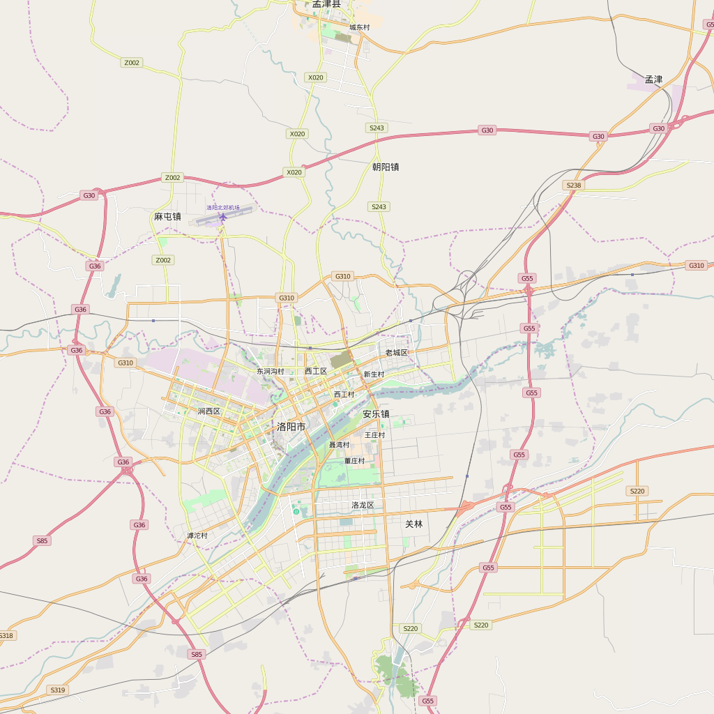 Editable City Map of Luoyang