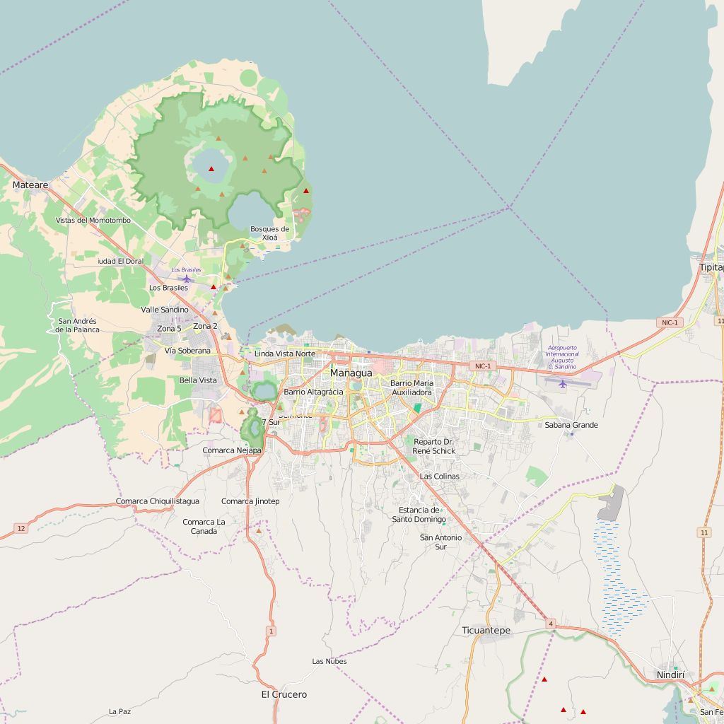 Editable City Map of Managua