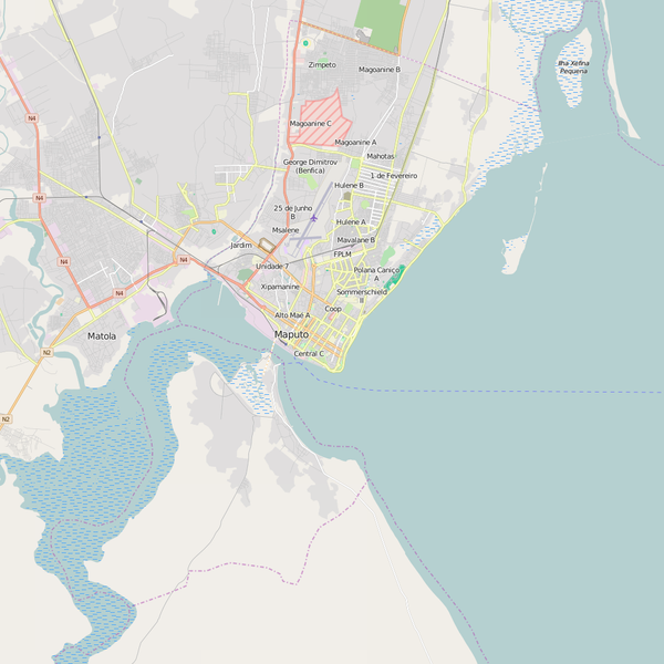 Editable City Map of Maputo