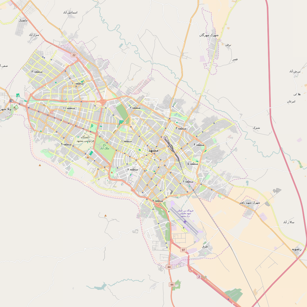 Editable City Map of Mashhad