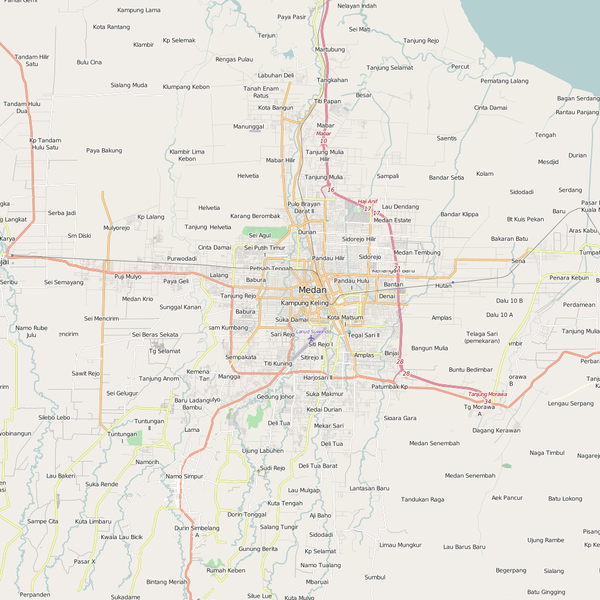 Editable City Map of Medan