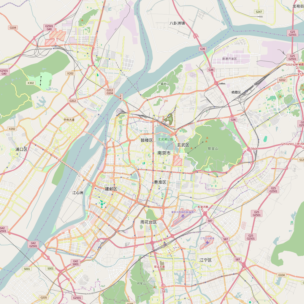 Editable City Map of Nanjing
