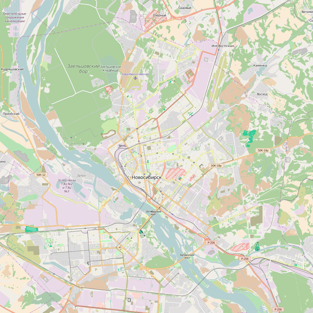 Editable City Map of Novosibirsk
