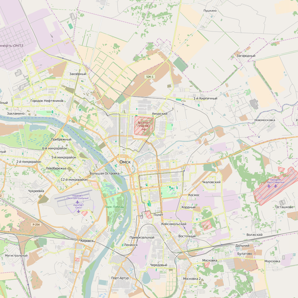 Editable City Map of Omsk