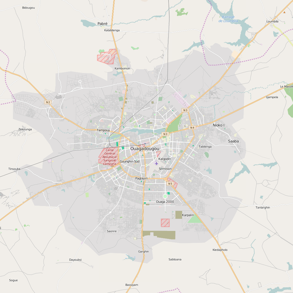 Editable City Map of Ouagadougou