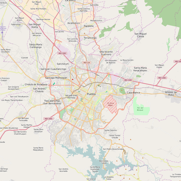 Editable City Map of Puebla