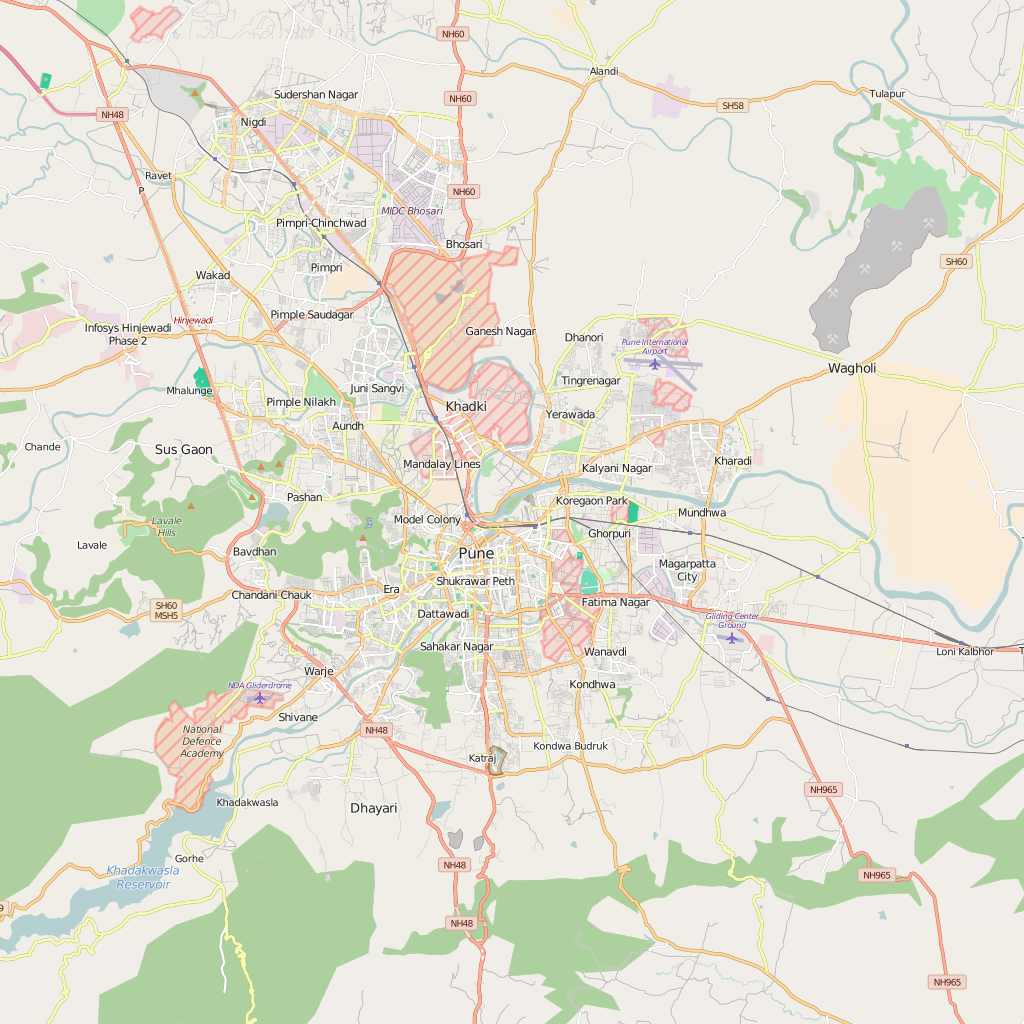 Editable City Map of Pune
