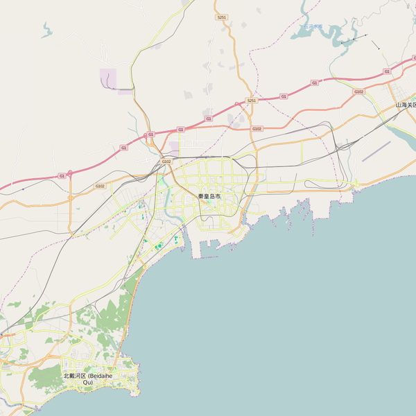 Editable City Map of Qinhuangdao