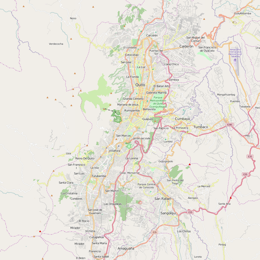Editable City Map of Quito