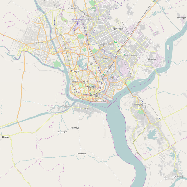 Editable City Map of Rangoon