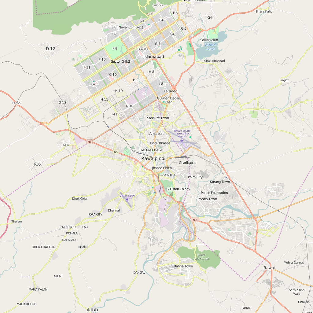 Editable City Map of Rawalpindi