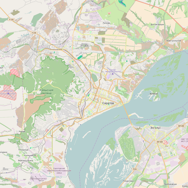 Editable City Map of Saratov