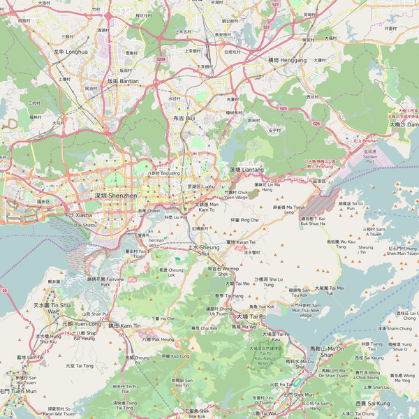 Editable City Map of Shenzhen
