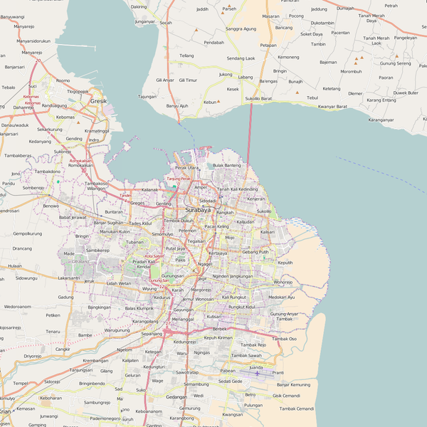 Editable City Map of Surabaya