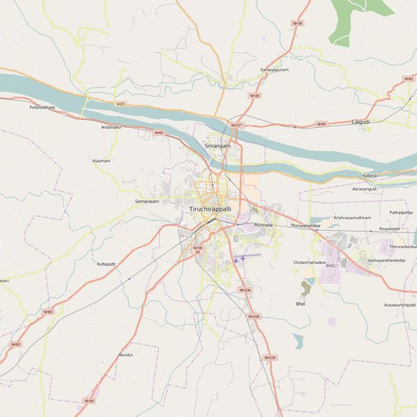 Editable City Map of Tiruchchirappalli
