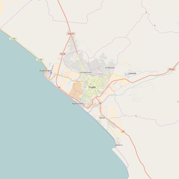 Editable City Map of Trujillo