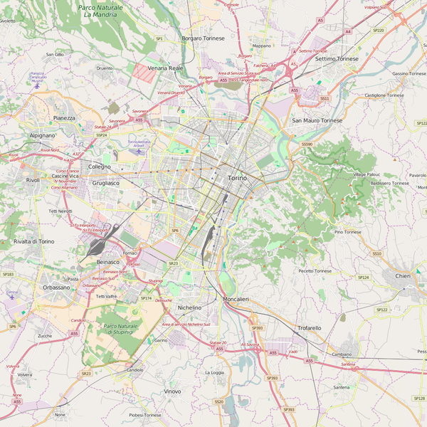 Editable City Map of Turin