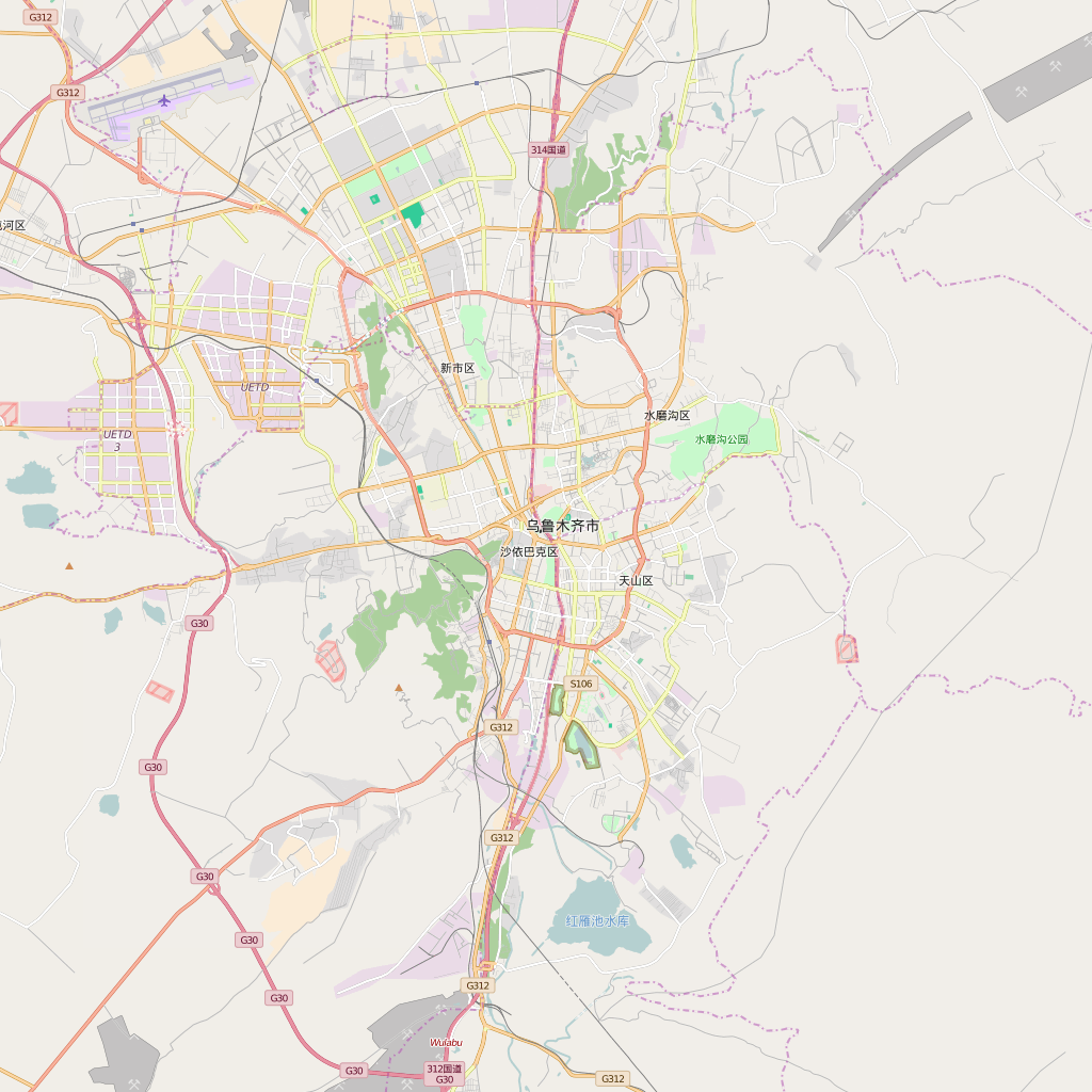 Editable City Map of Urumqi
