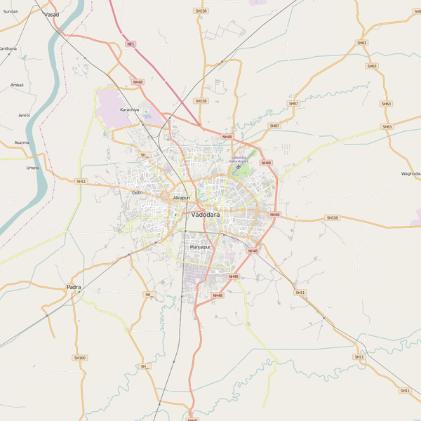 Editable City Map of Vadodara