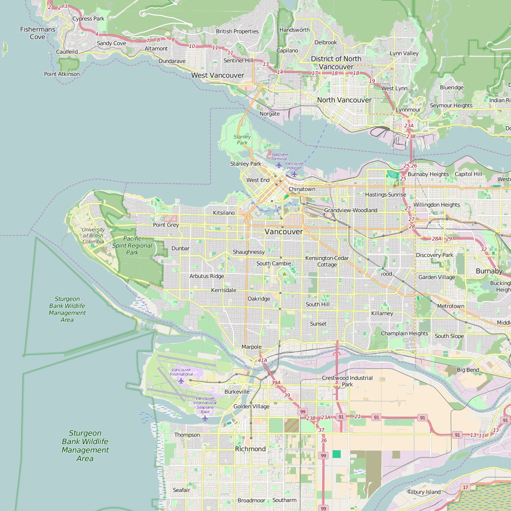 Editable City Map of Vancouver