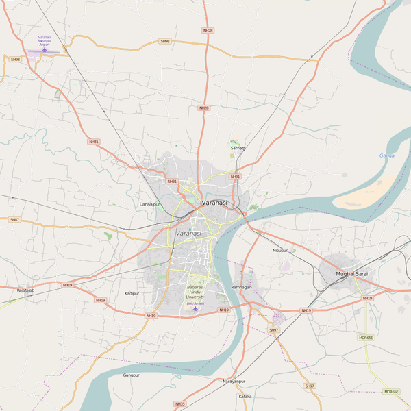 Editable City Map of Varanasi