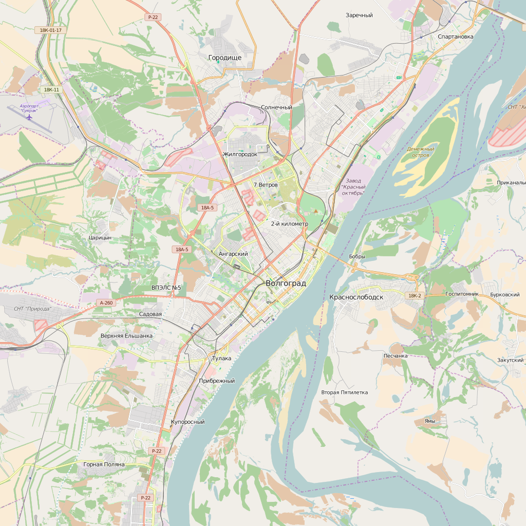 Editable City Map of Volgograd