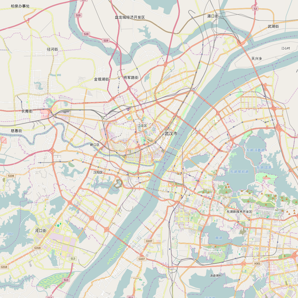 Editable City Map of Wuhan