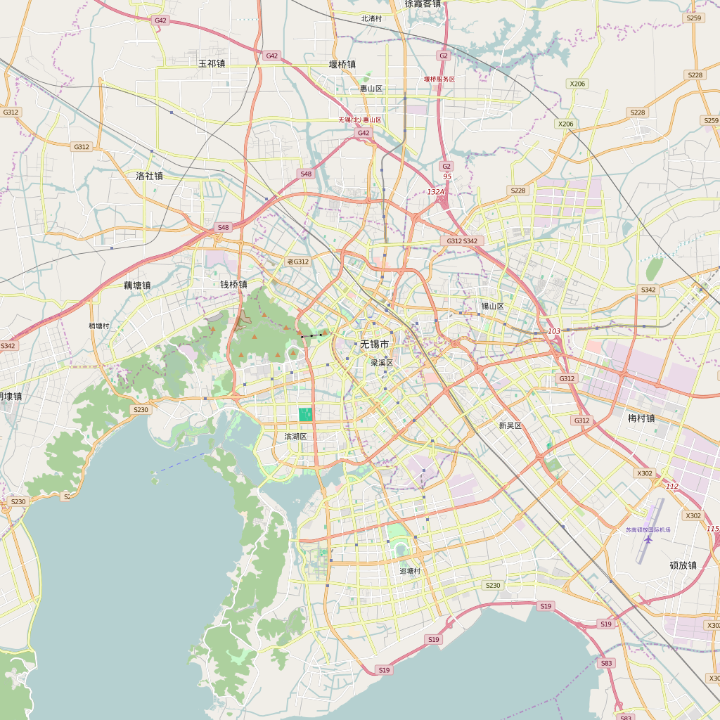 Editable City Map of Wuxi