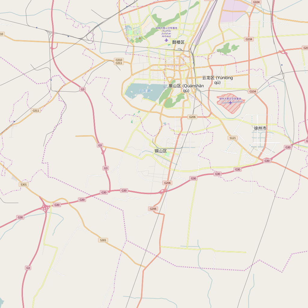 Editable City Map of Xuzhou