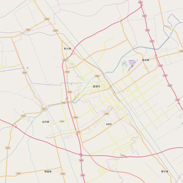 Editable City Map of Yancheng