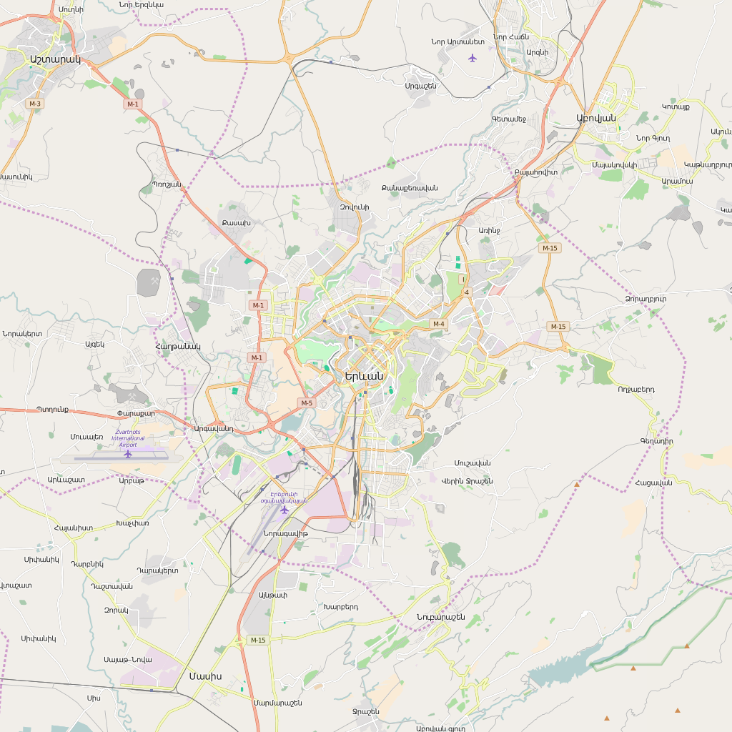 Editable City Map of Yerevan