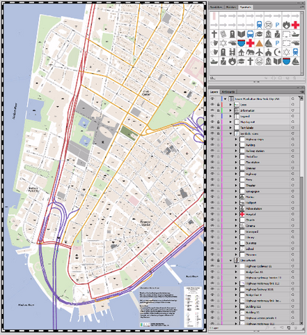 Map Lower Manhattan Illustrator